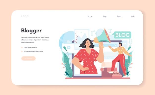 Banner web di blogger o pagina di destinazione per la condivisione di contenuti multimediali in internet