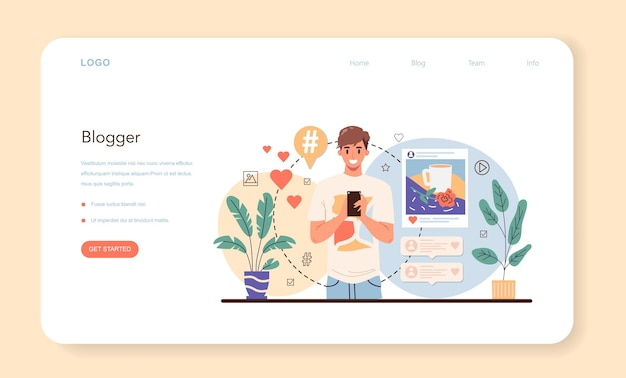 Banner web di blogger o pagina di destinazione