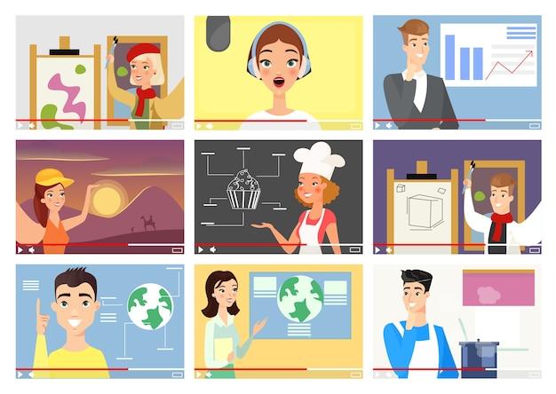 Le illustrazioni dei blogger impostano i personaggi dei cartoni animati dei vlogger degli influencer