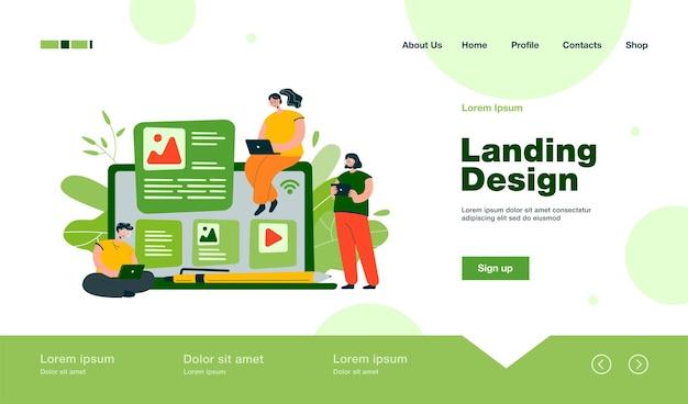 Blogger e influencer scrivono articoli e pubblicano landing page di contenuti in stile piatto Vettore Premium