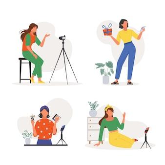 Blogger che registrano set di video online. le donne conducono trasmissioni digitali con storie di trucchi e consigli di moda dai social network di vita e vlog di video diari di vita quotidiana sul web. blog di vettore.