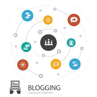 Blogging concetto cerchio colorato con icone semplici. contiene elementi come social media, commenti, blogger, contenuti digitali