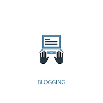 Concetto di blog 2 icona colorata. illustrazione semplice dell'elemento blu. disegno di simbolo di concetto di blogging. può essere utilizzato per ui/ux mobile e web