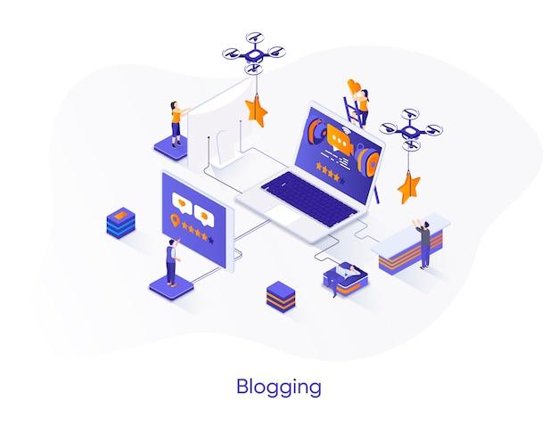 Illustrazione isometrica di blogging con personaggi di persone