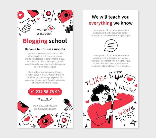 Modello di volantino scolastico di blogging in stile doodle