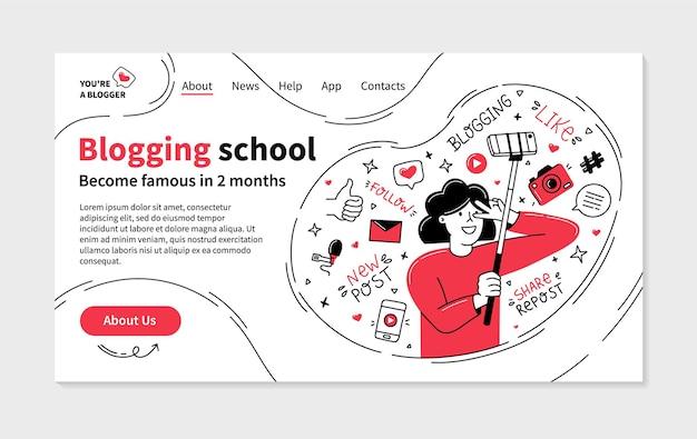 Pagina di destinazione della scuola di blog in stile doodle con vlogger femminile