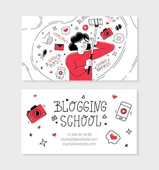Biglietto da visita della scuola di blogging in stile doodle