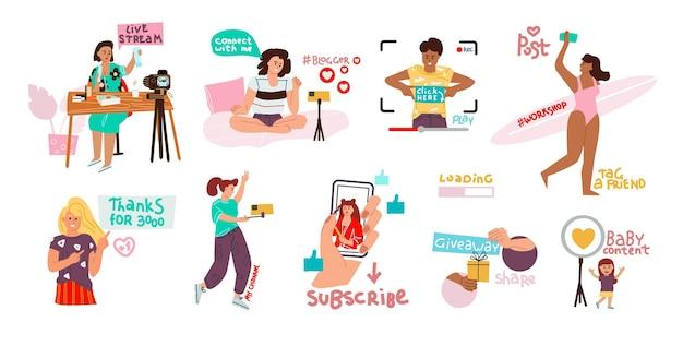 Insieme di blog. doodle personaggi felici che realizzano video e streaming, creazione di contenuti e comunicazione sui social network. blogger della ragazza di bellezza del fumetto di vettore con lo smartphone su fondo bianco