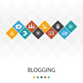 Concetto di infografica modello di interfaccia utente alla moda di blog. social media, commenti, blogger, icone di contenuti digitali