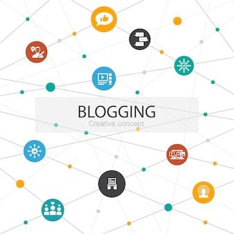 Modello web alla moda di blog con icone semplici. contiene elementi come social media, commenti, blogger, contenuti digitali