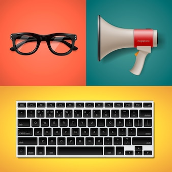 Blogging e scrittura per oggetti alla moda del sito web in stile piatto, megafono della tastiera e illustrazione di occhiali