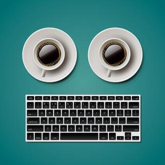 Blogging e scrittura per oggetti alla moda sito web, tastiera due tazze di caffè illustrazione
