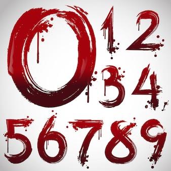 Alfabeto di sangue, lettere di halloween in stile di carattere sanguinante.
