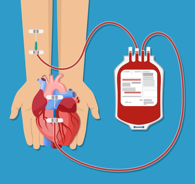 Sacca di sangue e mano del donatore con cuore. concetto di giorno della donazione di sangue. l'essere umano dona il sangue. . Vettore Premium