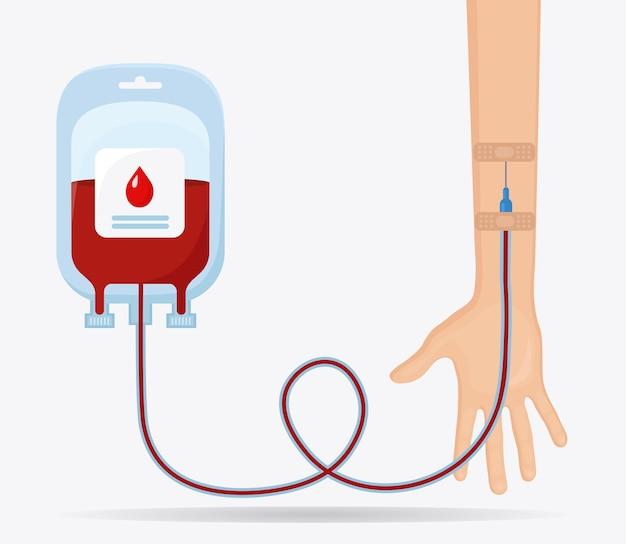 Sacca di sangue con goccia rossa e mano volontaria su sfondo bianco.