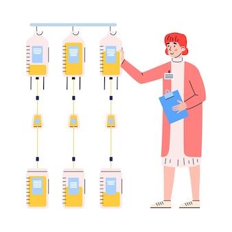 Illustrazione piana del carattere del dipendente del laboratorio di banca del sangue