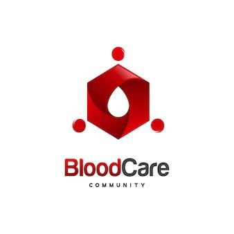 Il logo della comunità di cura del sangue progetta il vettore del concetto, l'icona del vettore del modello del logo della gente del sangue