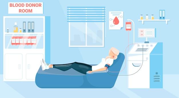Sfondo di donazione di sangue con simboli della stanza del donatore piatti