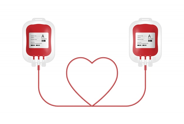 Concetto di donazione di sangue, borsa del sangue isolata su fondo bianco
