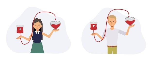 Concetto di donazione di sangue. carità, uomo volontario e donna che donano il sangue vicino al cuore. illustrazione del personaggio dei cartoni animati di vettore piatto.