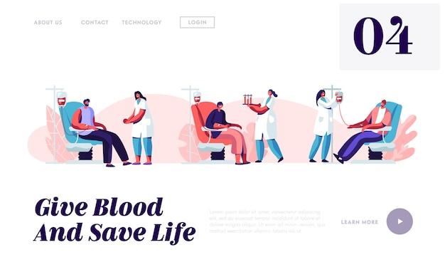 Pagina di destinazione del sito web per la donazione di sangue,