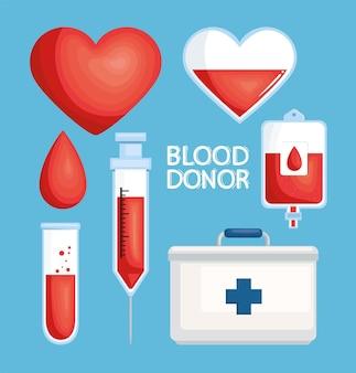Insieme di clipart del donatore di sangue