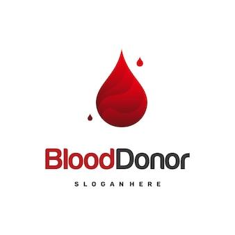 Modello di disegno del logo del donatore di sangue, vettore dell'icona del modello del logo della donazione di sangue