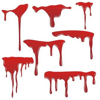 Set di gocce di sangue. goccia di sangue isloated sfondo bianco. felice disegno di decorazione di halloween. macchia di schizzi di macchia rossa, macchia dell'orrore. struttura sanguinante della cicatrice della macchia di sangue. vernice liquida