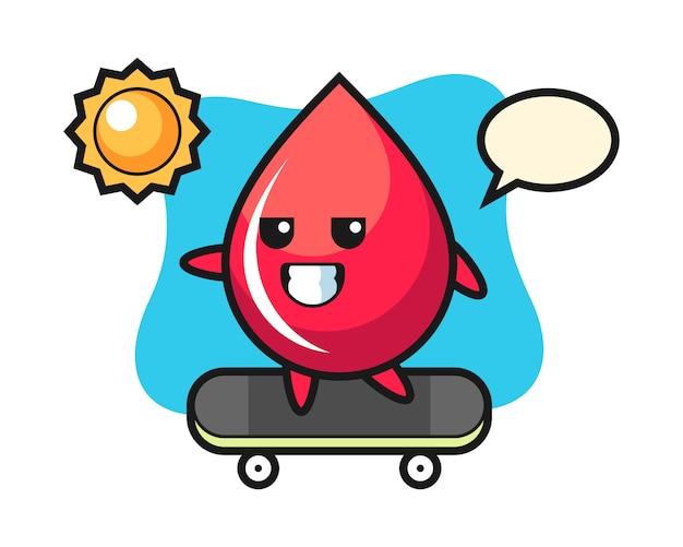 Illustrazione del personaggio di goccia di sangue cavalca uno skateboard, stile carino, adesivo, elemento del logo