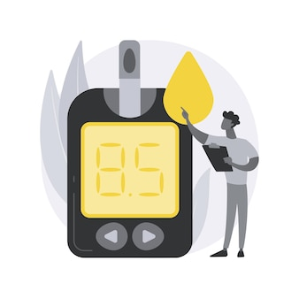 Illustrazione di concetto astratto del misuratore di glucosio nel sangue.