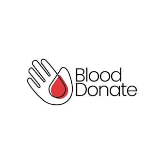 Illustrazione dell'icona di vettore del logo di donazione di cura di goccia di donazione della mano di sangue