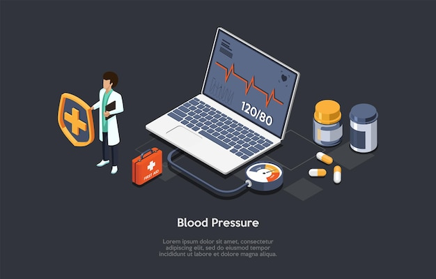 Illustrazione di vettore di concetto di pressione sanguigna su fondo scuro con testo. composizione isometrica in stile cartoon 3d. servizio di centro medico online. clinica internet, pronto soccorso, dispositivo di controllo sanitario.