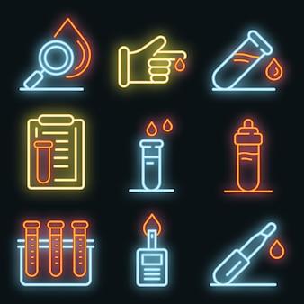 Set di icone di analisi del sangue. schema set di icone vettoriali per analisi del sangue neoncolor su nero