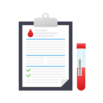 Risultato dell'analisi del sangue in stile piatto. ricerca di laboratorio chimico.
