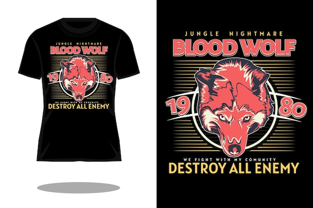 Design retrò della maglietta del lupo di sangue
