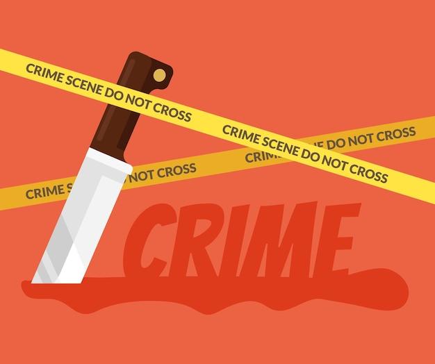 Coltello insanguinato scena del crimine piatto fumetto illustrazione