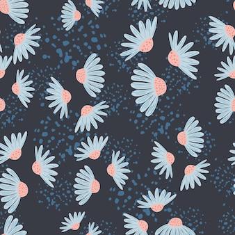 Motivo floreale senza cuciture con elementi floreali blu casuali di fiori di camomilla