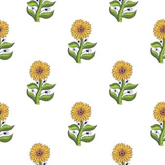 Modello senza cuciture di fioritura con girasoli gialli e rami di fogliame verde. sullo sfondo di fiori isolati. illustrazione vettoriale per stampe tessili stagionali, tessuti, striscioni, fondali e sfondi.