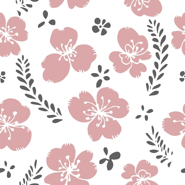 Fiore che sboccia con foglie stampa motivo floreale