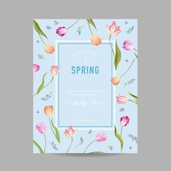 Biglietto con disegno floreale primaverile ed estivo in fiore