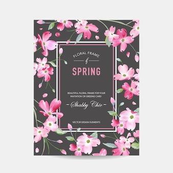 Cornice floreale in fiore primaverile ed estivo. fiori di sakura dell'acquerello per invito, matrimonio, baby shower card