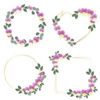 Fioritura viola o ghirlanda di fiori viola con stile piatto collezione cornice dorata