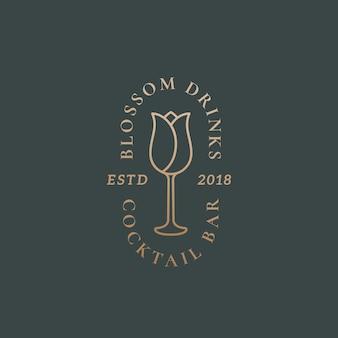 Segno, simbolo o logo template di vettore dell'estratto della barra del cocktail delle bevande del fiore.