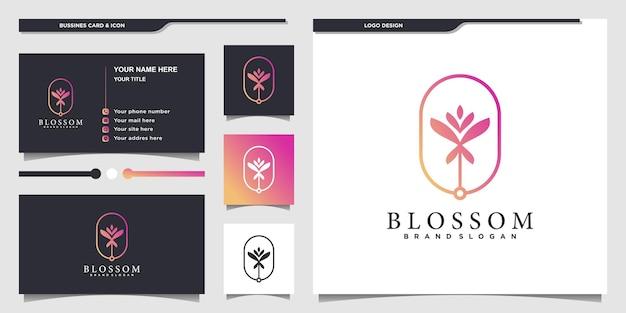 Logo blossom con stile grafico a linee sfumate e design di biglietti da visita vettore premium