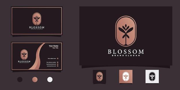 Logo blossom con moderno spazio negativo sfumato e design del biglietto da visita vettore premium