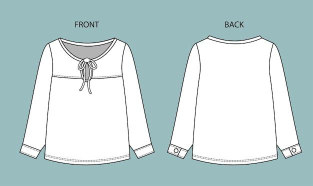 Schizzo di moda camicetta sulla vista anteriore e posteriore