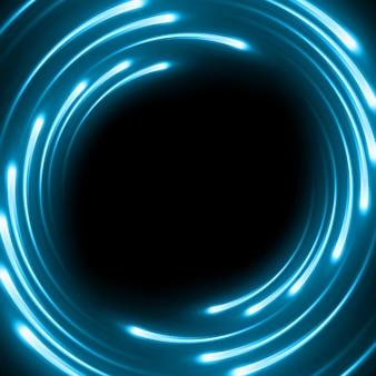 Fondo astratto blu con le linee curve magiche vaghe della luce al neon.