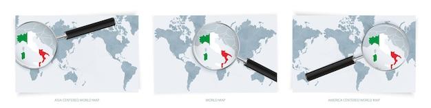 Mappe del mondo astratte blu con lente di ingrandimento sulla mappa dell'italia con la bandiera nazionale dell'italia.
