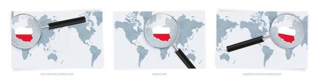 Mappe del mondo astratte blu con lente di ingrandimento sulla mappa della polonia con la bandiera nazionale
