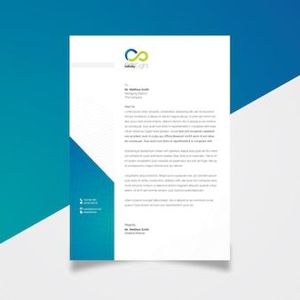 Carta intestata creativa con accento blu
